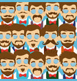 men wearing glasses with tie bow and mustache vector image