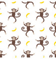pattern with with funny monkey and banana vector image