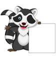 Raccoon cartoon posing with blank sign vector image
