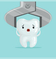 sad cartoon tooth character extraction by dental vector image vector image