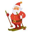 santa winter vacations skiing ski daily christmas vector image vector image