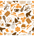 set of honey icons seamless pattern eps10 vector image vector image