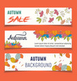 set of three nature banners colorful autumn leaves vector image