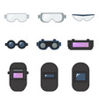 set safety goggles and welding helmet for eye vector image vector image