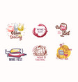 set wine icons or labels with barrel vine vector image