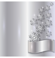 Silver Invitation Card with Snowflakes vector image vector image