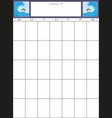 simple blank month planning calendar with place vector image vector image