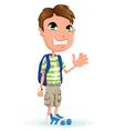 Small child with school bag vector image vector image