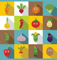 smiling vegetables icons set flat style vector image vector image