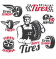tires shop or service retro emblem and labels vector image vector image