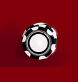 top view of casino black and white chips on red vector image vector image