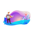 traveler on his way to city vector image vector image