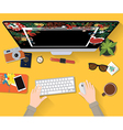 Use Computer for christmas plan on workspace vector image vector image