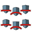 vintage shields set with red ribbons isolated vector image vector image