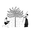 woman raking an olive tree and man picking olives vector image
