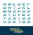 Sport font Dynamic motion italic letters and vector image