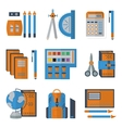 Stationery flat color icons vector image