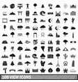 100 view icons set simple style