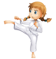 A brave girl doing karate vector image vector image