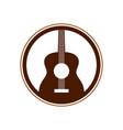 acoustic guitar circle emblem symbol logo design vector image