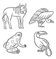 aninals set vulture toucan frog gnu black vector image vector image