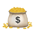 bag of dollar coins vector image vector image