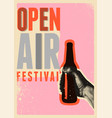 beer open air fest retro grunge pop-art poster vector image vector image
