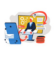 business interaction using gadgets and innovative vector image vector image