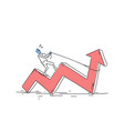 business man ride red arrow pulling up financial vector image vector image