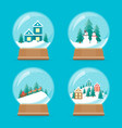 cartoon snow globe icons set vector image