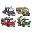 cartoon truck set vector image vector image