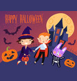 colorful happy halloween card or poster vector image vector image