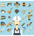 Construction concept with flat icons and builder vector image