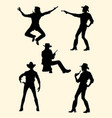 cowgirl and cowboy silhouette vector image vector image