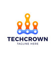 crown technology logo crown in line art style vector image vector image