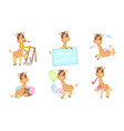 cute adorable giraffe cartoon character set vector image vector image