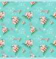 cute happy dog girl seamless pattern vector image