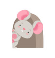 cute mouse looking out of the hole funny animal vector image vector image
