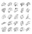 dinosaurus set icon hand drawn black outline vector image