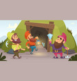 dwarves in the mine characters of dwarves vector image vector image