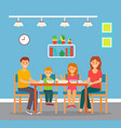 family lunch or dinner mom dad and kids vector image