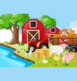 farm scene with farmer and animals vector image vector image