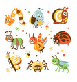 funky bugs and insects collection small animals vector image vector image