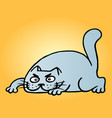 funny cartoon blue cat hunter vector image vector image