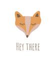funny fox face retro style vector image