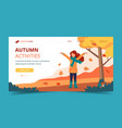 girl playing with leaves in park in autumn vector image vector image
