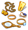 gold attributes of rich man cartoon vector image