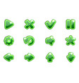 green collection set glass buttons for ui vector image