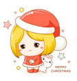 greeting christmas card in kawaii style cute shy vector image vector image