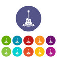 guitar icons set color vector image vector image